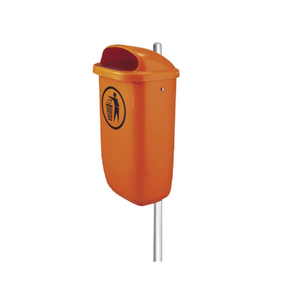 KO/07 Урна 50л оранжевая пластик с держателем для бетонирования