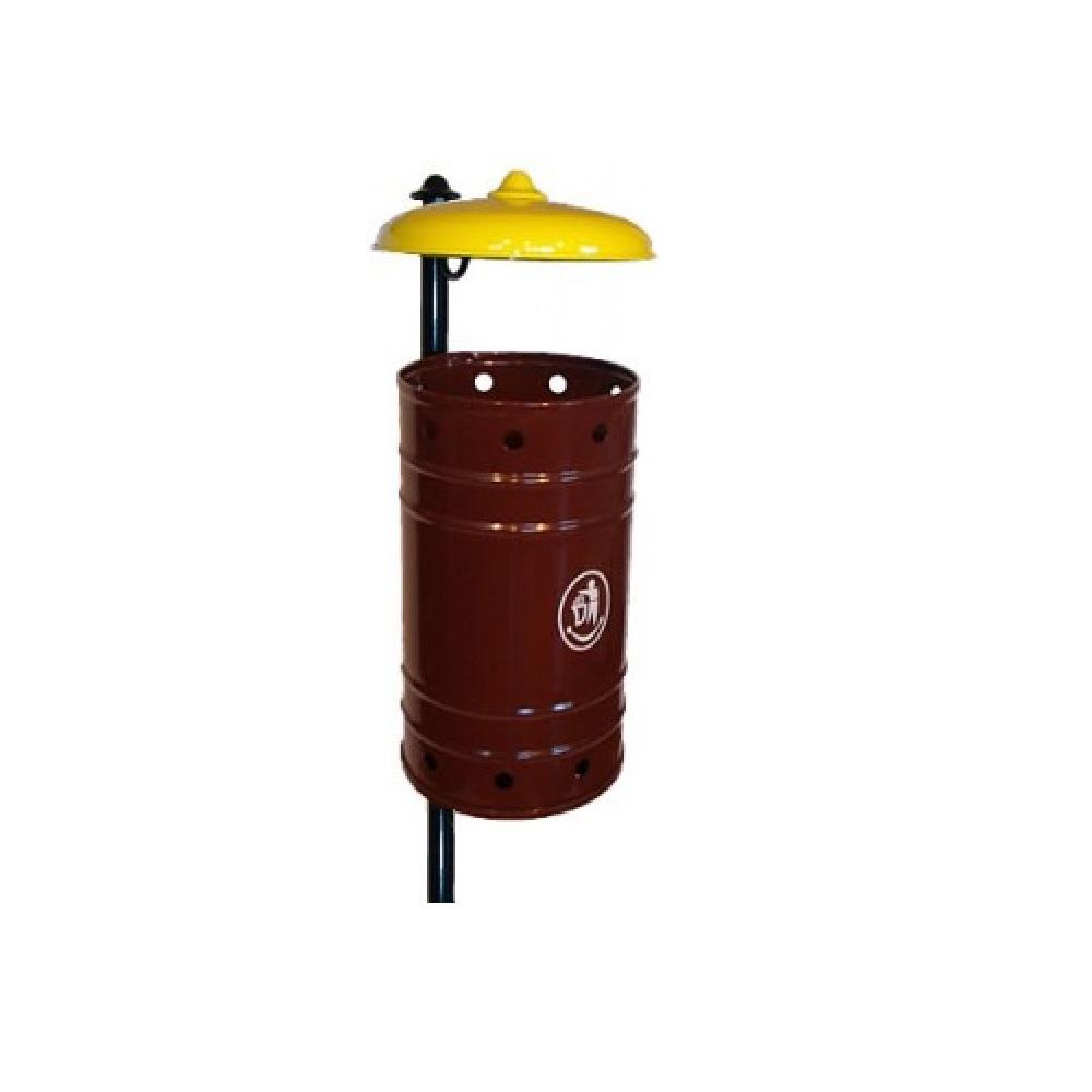 KO7/1P Урна 20л стальная коричневая с желтым зонтиком с держателем для бетонирования